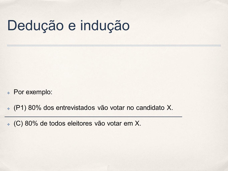 Dedução e indução Por exemplo: (P1) 80% dos entrevistados vão votar no candidato X. (C) 80% de todos eleitores vão votar em X.