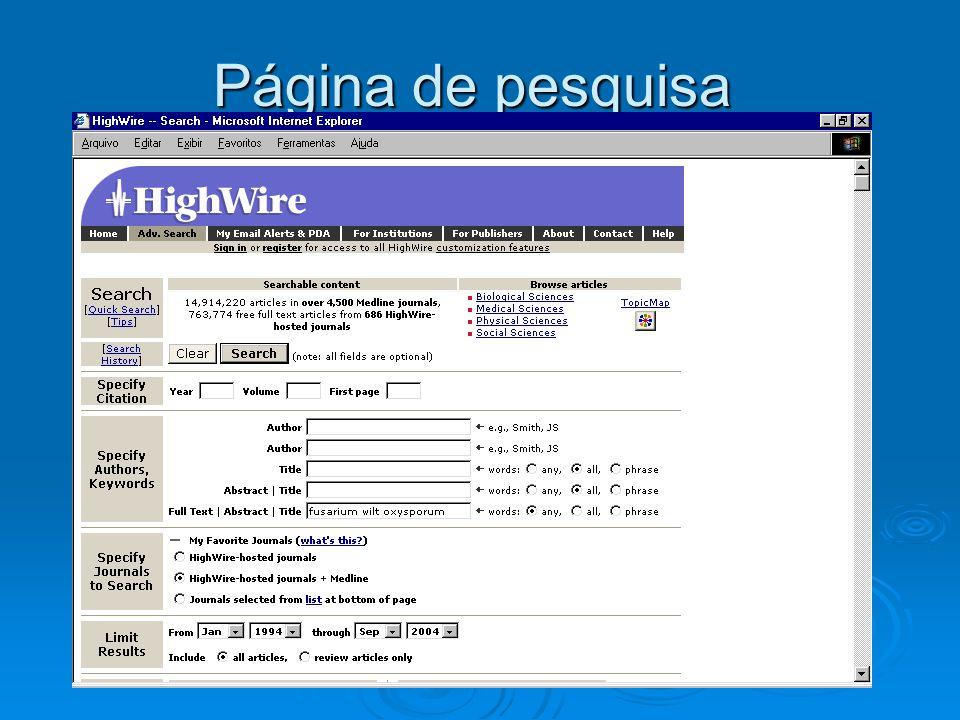 Página de pesquisa