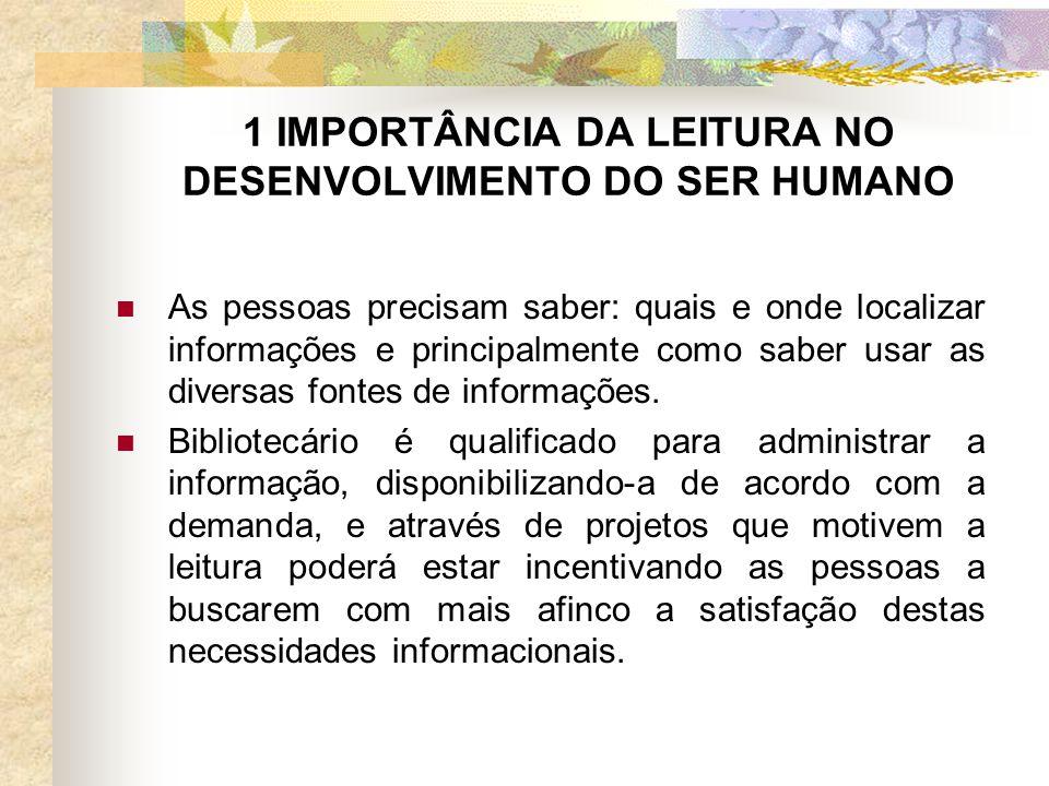 1 IMPORTÂNCIA DA LEITURA NO DESENVOLVIMENTO DO SER HUMANO As pessoas precisam saber: quais e onde localizar informações e principalmente como saber usar as diversas fontes de informações.