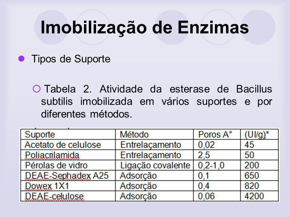Imobilização de Enzimas Tipos de Suporte Tabela 2. Atividade da esterase de Bacillus subtilis imobilizada em vários suportes e por diferentes métodos.