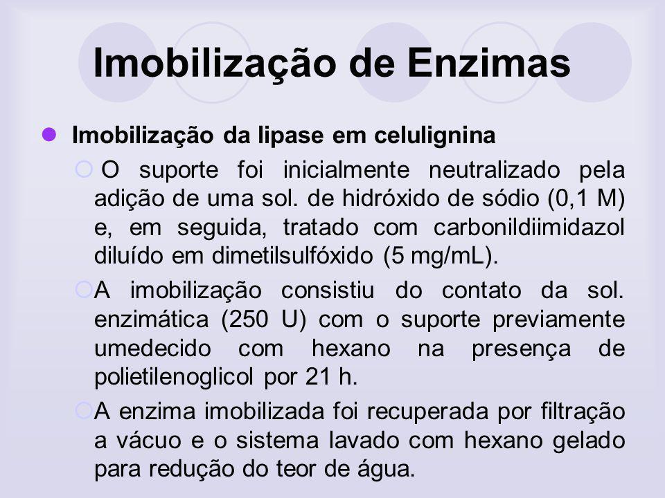 Imobilização de Enzimas Imobilização da lipase em celulignina O suporte foi inicialmente neutralizado pela adição de uma sol. de hidróxido de sódio (0