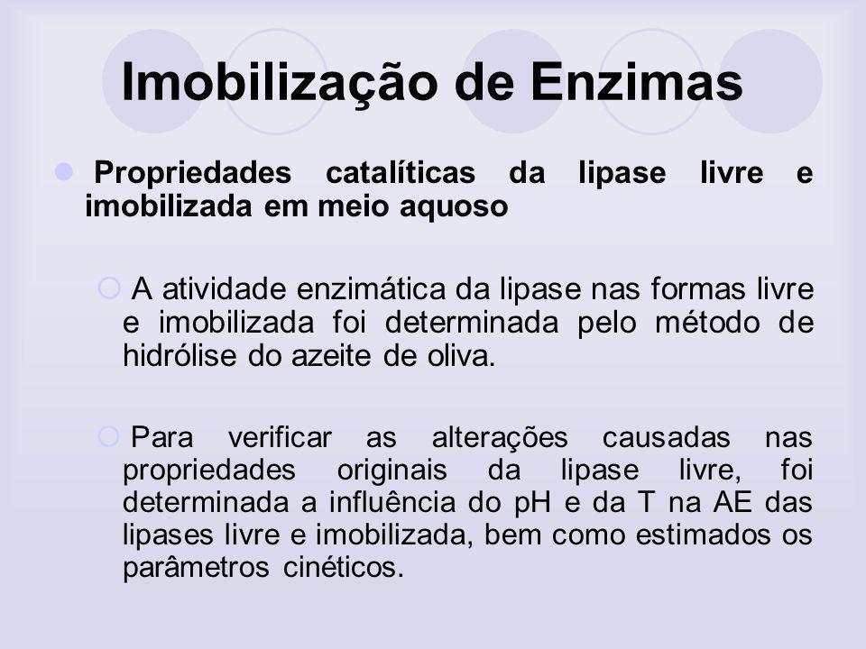 Imobilização de Enzimas Propriedades catalíticas da lipase livre e imobilizada em meio aquoso A atividade enzimática da lipase nas formas livre e imob