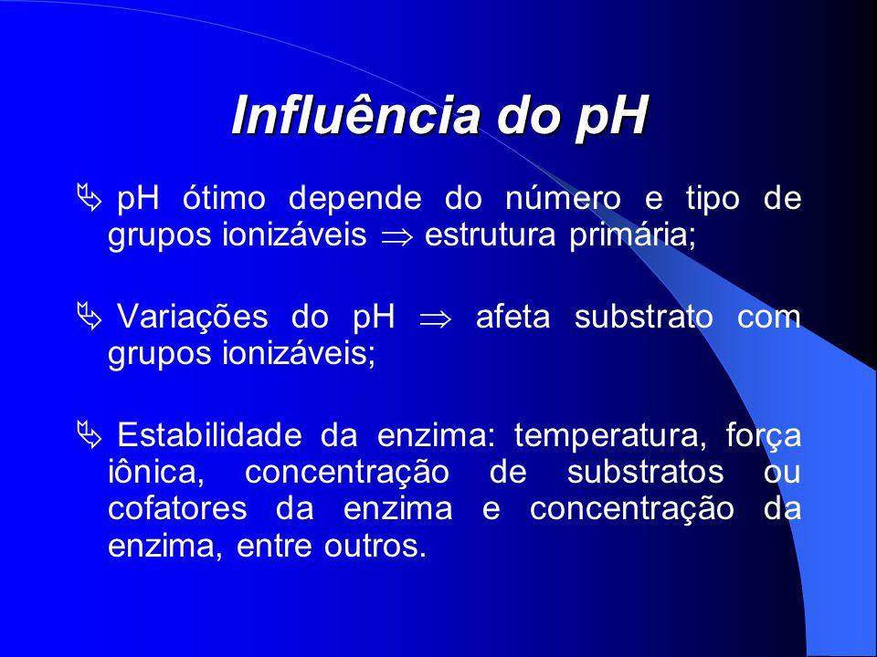 Influência do pH pH ótimo depende do número e tipo de grupos ionizáveis estrutura primária; Variações do pH afeta substrato com grupos ionizáveis; Est