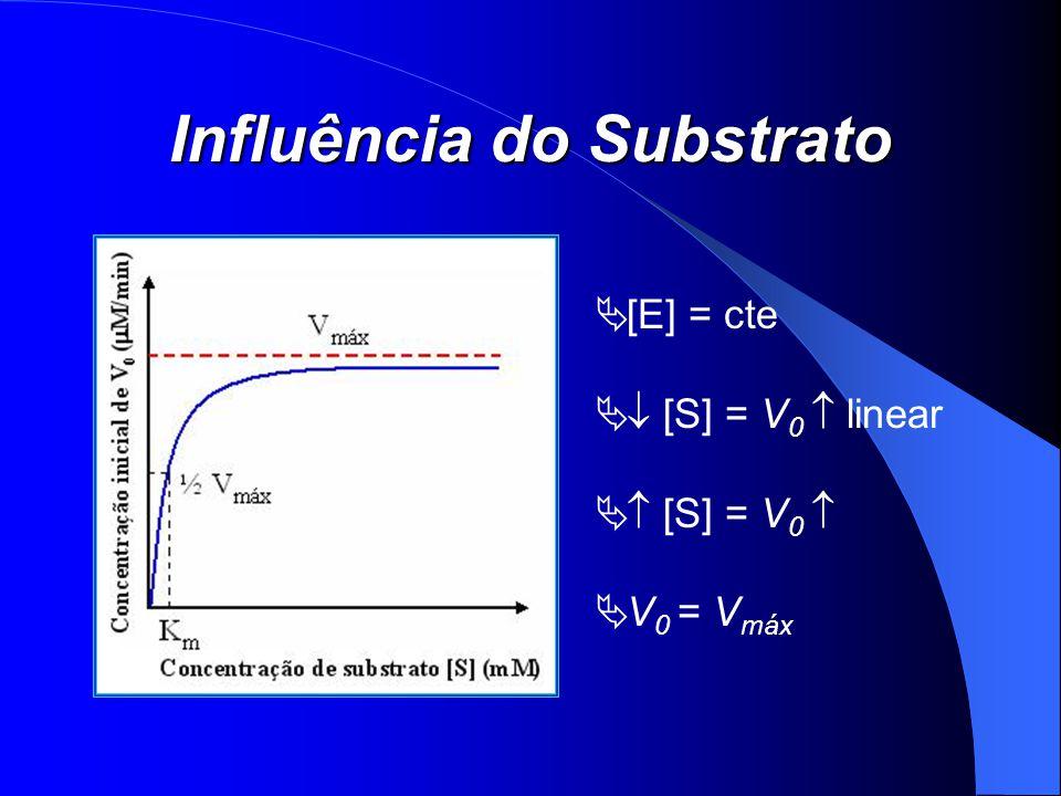 Influência do Substrato [E] = cte [S] = V 0 linear [S] = V 0 V 0 = V máx