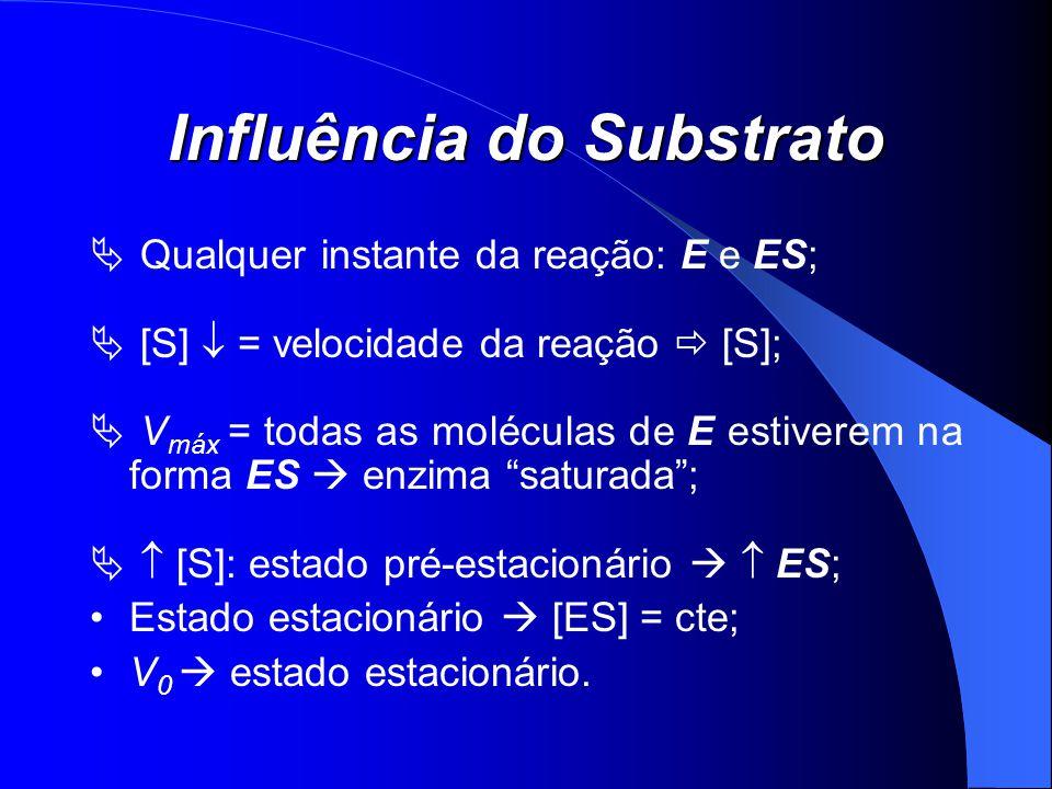 Influência do Substrato Qualquer instante da reação: E e ES; [S] = velocidade da reação [S]; V máx = todas as moléculas de E estiverem na forma ES enz
