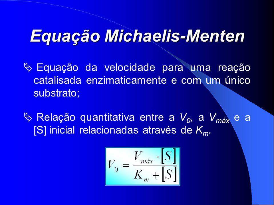 Equação Michaelis-Menten Equação da velocidade para uma reação catalisada enzimaticamente e com um único substrato; Relação quantitativa entre a V 0,