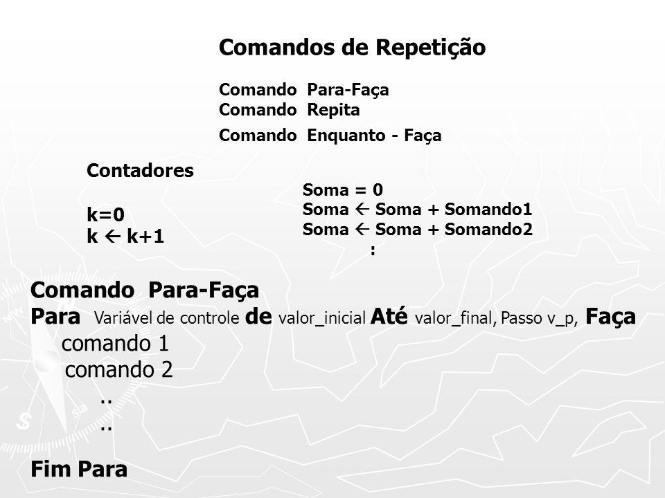Comando Para-Faça Para Variável de controle de valor_inicial Até valor_final, Passo v_p, Faça comando 1 comando 2..