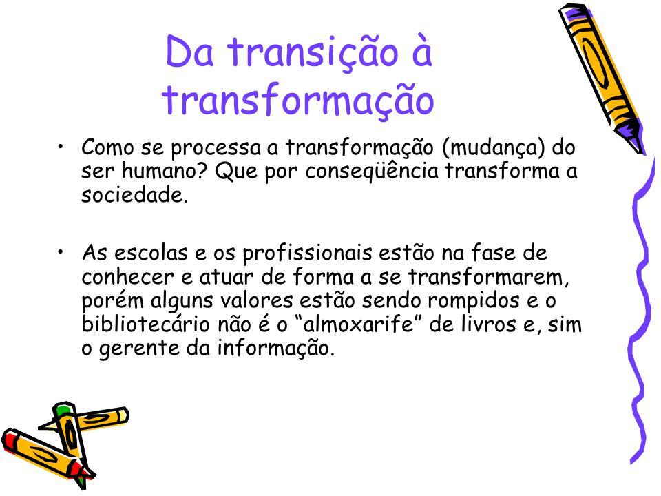 Da transição à transformação Como se processa a transformação (mudança) do ser humano? Que por conseqüência transforma a sociedade. As escolas e os pr