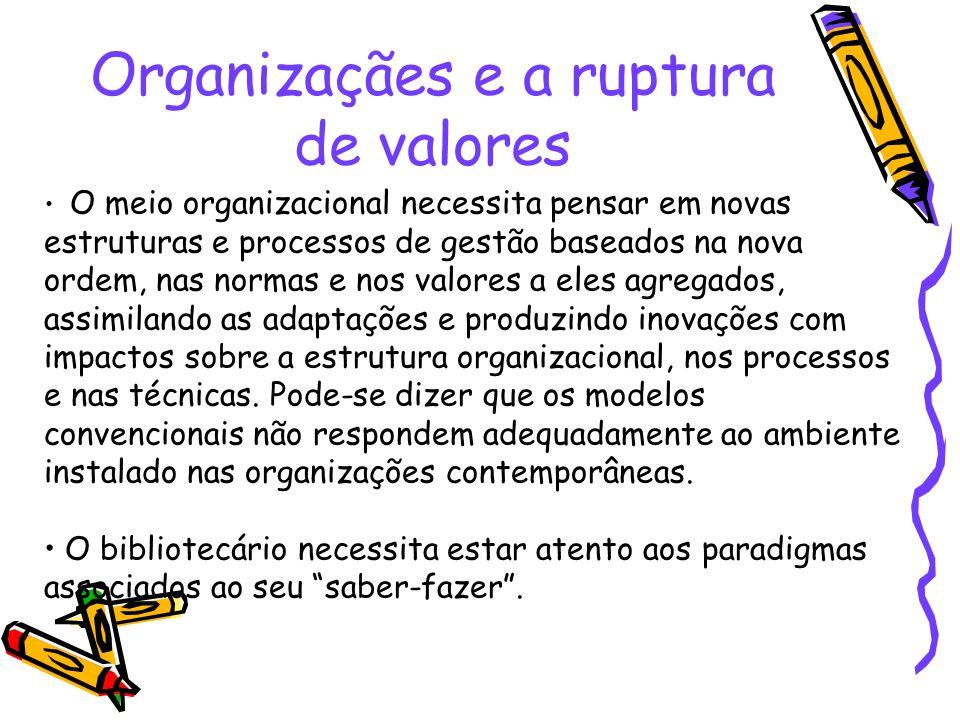 Organizaçães e a ruptura de valores O meio organizacional necessita pensar em novas estruturas e processos de gestão baseados na nova ordem, nas norma