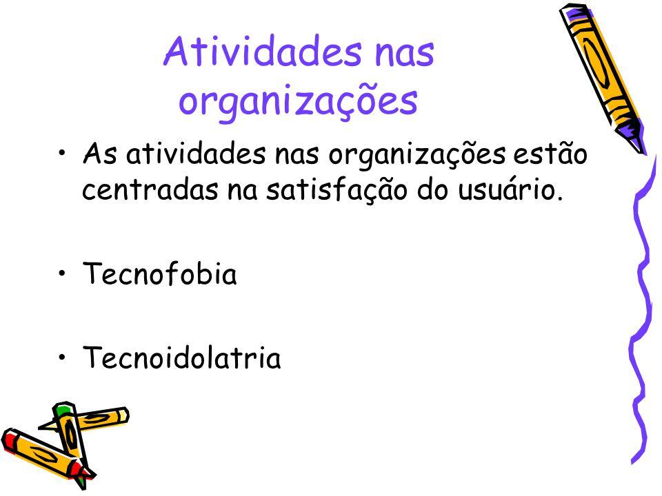 Atividades nas organizações As atividades nas organizações estão centradas na satisfação do usuário. Tecnofobia Tecnoidolatria