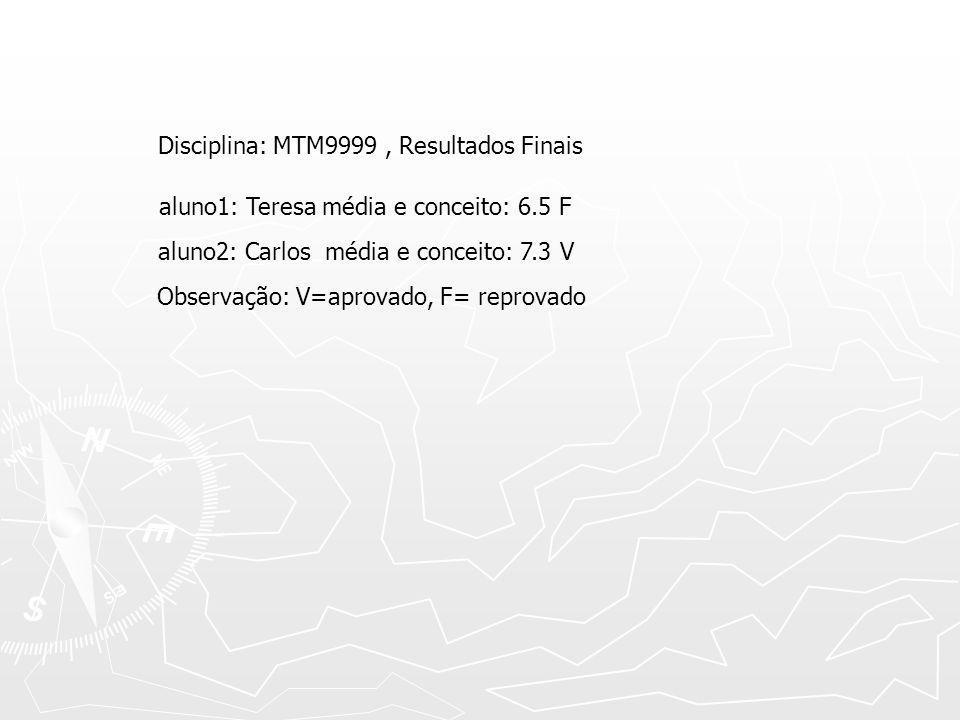 Disciplina: MTM9999, Resultados Finais aluno1: Teresa média e conceito: 6.5 F aluno2: Carlos média e conceito: 7.3 V Observação: V=aprovado, F= reprov
