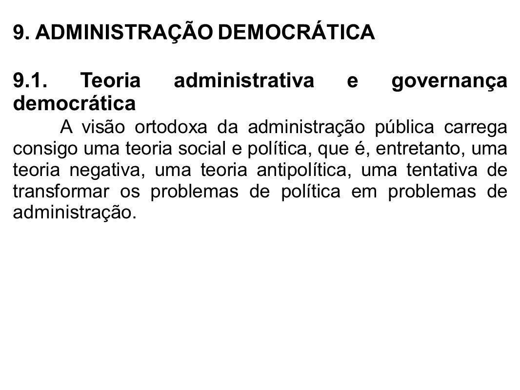 9. ADMINISTRAÇÃO DEMOCRÁTICA 9.1. Teoria administrativa e governança democrática A visão ortodoxa da administração pública carrega consigo uma teoria