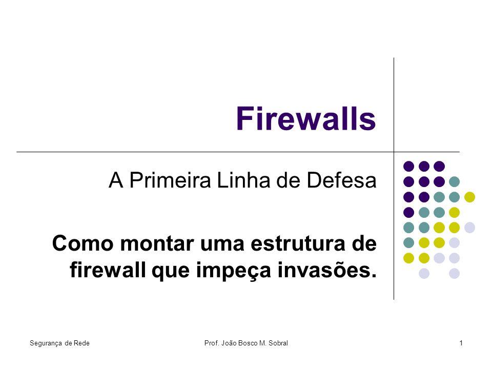 Segurança de RedeProf. João Bosco M. Sobral1 Firewalls A Primeira Linha de Defesa Como montar uma estrutura de firewall que impeça invasões.