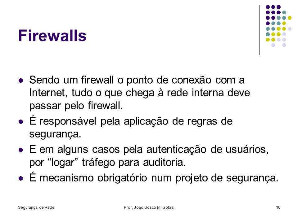 Segurança de RedeProf. João Bosco M. Sobral10 Firewalls Sendo um firewall o ponto de conexão com a Internet, tudo o que chega à rede interna deve pass