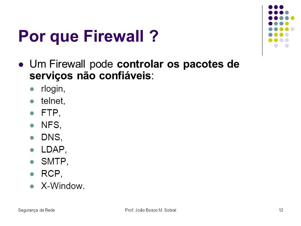 Segurança de RedeProf. João Bosco M. Sobral12 Por que Firewall ? Um Firewall pode controlar os pacotes de serviços não confiáveis: rlogin, telnet, FTP