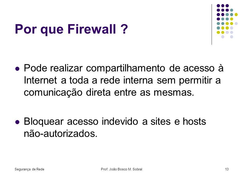 Segurança de RedeProf. João Bosco M. Sobral13 Por que Firewall ? Pode realizar compartilhamento de acesso à Internet a toda a rede interna sem permiti