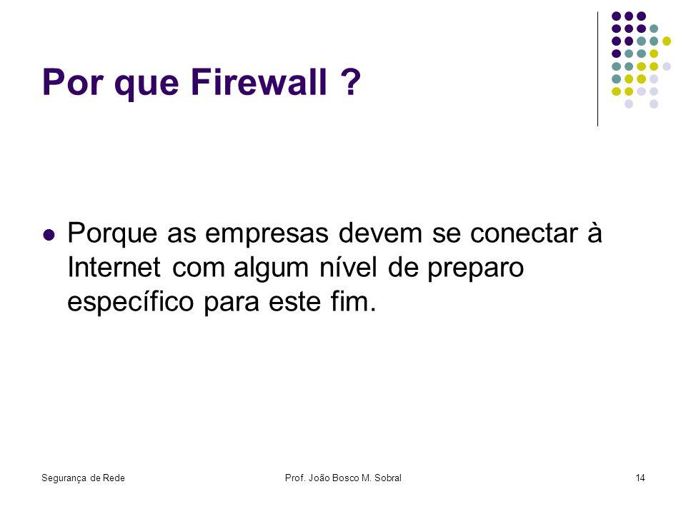 Segurança de RedeProf. João Bosco M. Sobral14 Por que Firewall ? Porque as empresas devem se conectar à Internet com algum nível de preparo específico