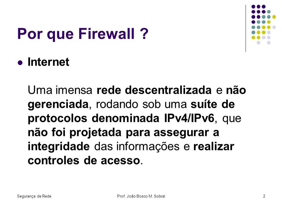 Segurança de RedeProf. João Bosco M. Sobral2 Por que Firewall ? Internet Uma imensa rede descentralizada e não gerenciada, rodando sob uma suíte de pr