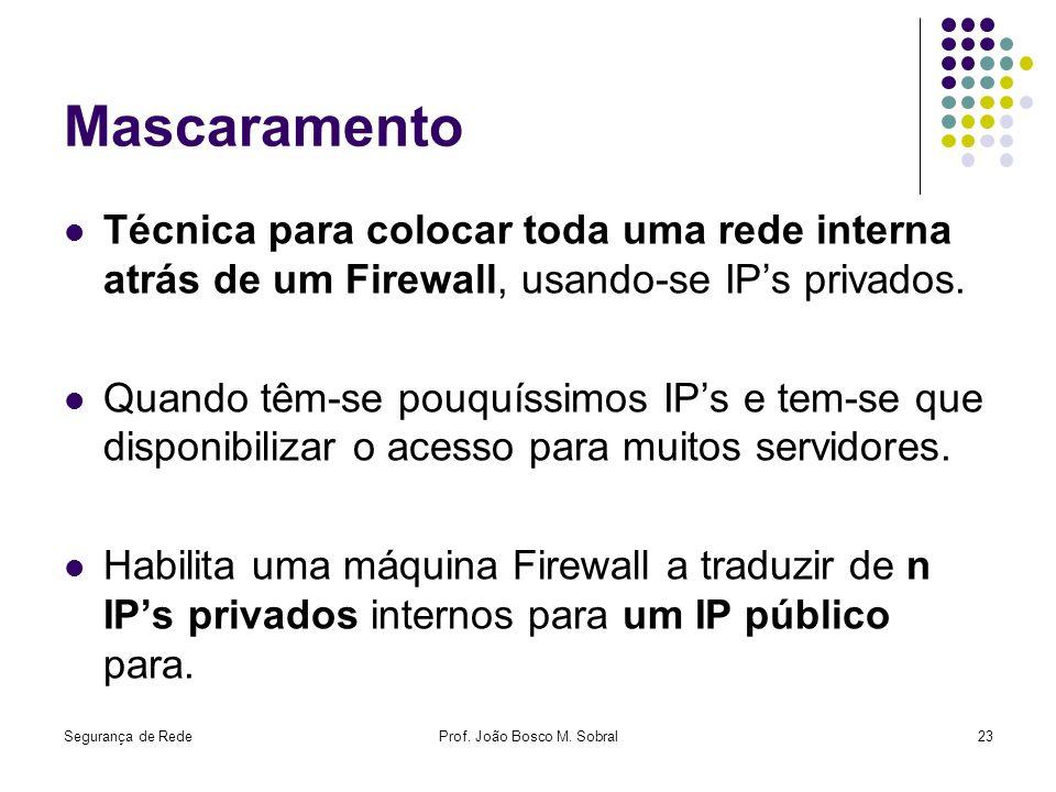 Segurança de RedeProf. João Bosco M. Sobral23 Mascaramento Técnica para colocar toda uma rede interna atrás de um Firewall, usando-se IPs privados. Qu