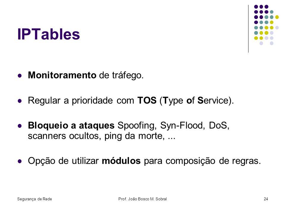 Segurança de RedeProf. João Bosco M. Sobral24 IPTables Monitoramento de tráfego. Regular a prioridade com TOS (Type of Service). Bloqueio a ataques Sp