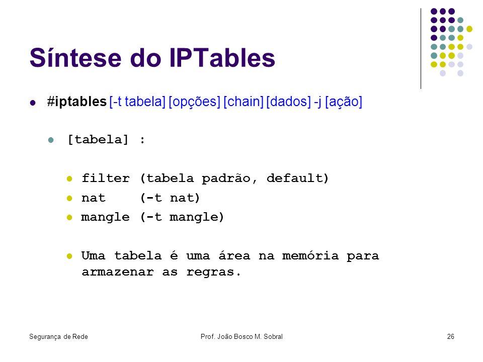 Segurança de RedeProf. João Bosco M. Sobral26 Síntese do IPTables #iptables [-t tabela] [opções] [chain] [dados] -j [ação] [tabela] : filter (tabela p
