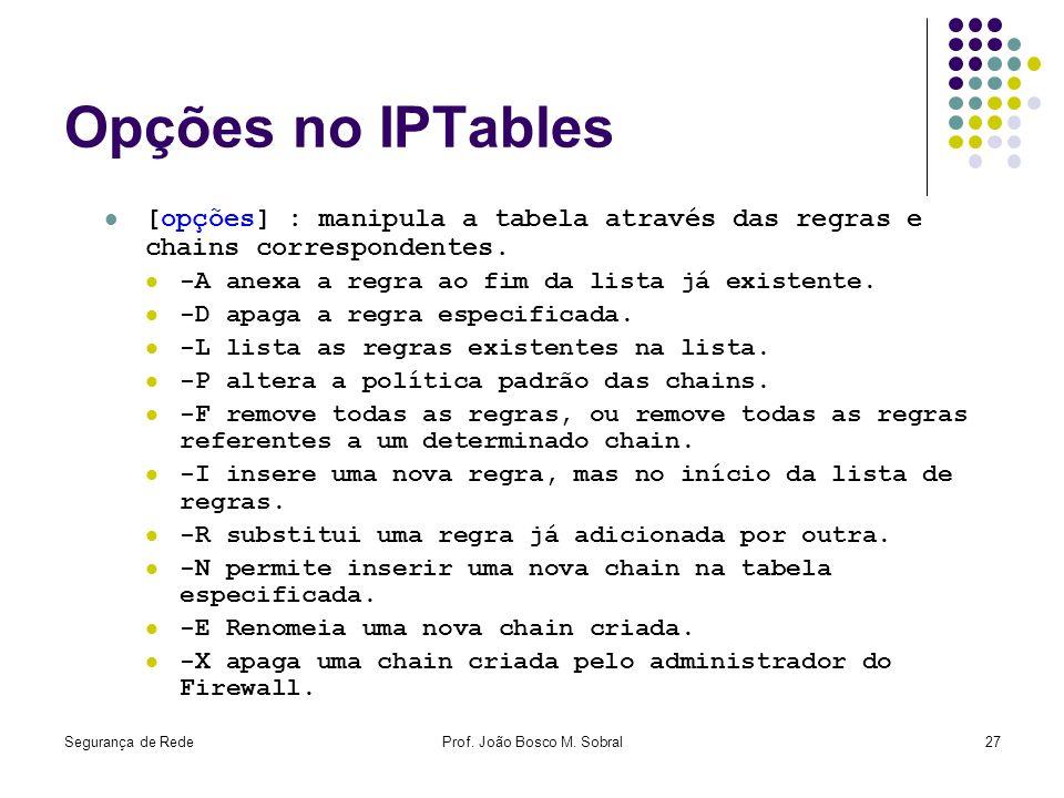 Segurança de RedeProf. João Bosco M. Sobral27 Opções no IPTables [opções] : manipula a tabela através das regras e chains correspondentes. -A anexa a