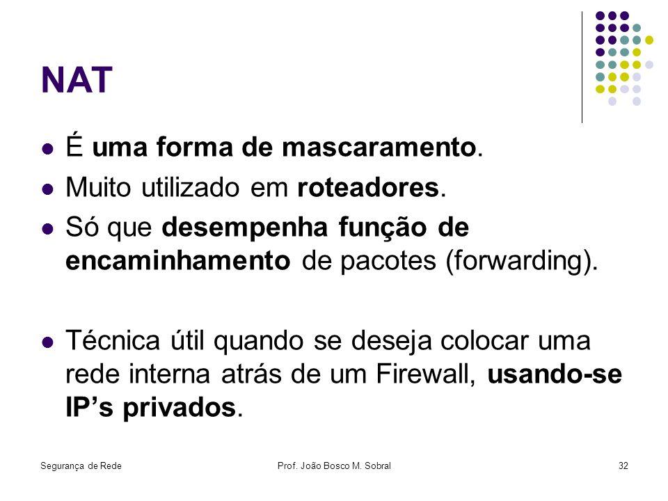 Segurança de RedeProf. João Bosco M. Sobral32 NAT É uma forma de mascaramento. Muito utilizado em roteadores. Só que desempenha função de encaminhamen