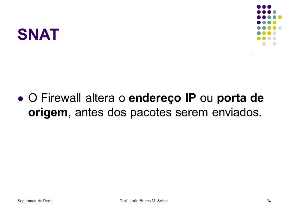 Segurança de RedeProf. João Bosco M. Sobral34 SNAT O Firewall altera o endereço IP ou porta de origem, antes dos pacotes serem enviados.