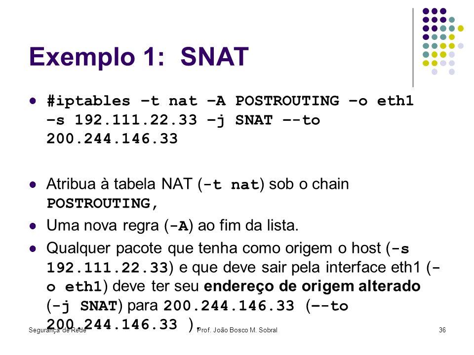 Segurança de RedeProf. João Bosco M. Sobral36 Exemplo 1: SNAT #iptables –t nat –A POSTROUTING –o eth1 –s 192.111.22.33 –j SNAT –-to 200.244.146.33 Atr