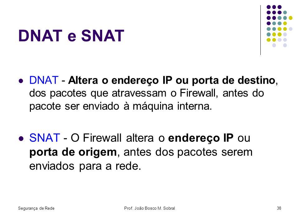 Segurança de RedeProf. João Bosco M. Sobral38 DNAT e SNAT DNAT - Altera o endereço IP ou porta de destino, dos pacotes que atravessam o Firewall, ante