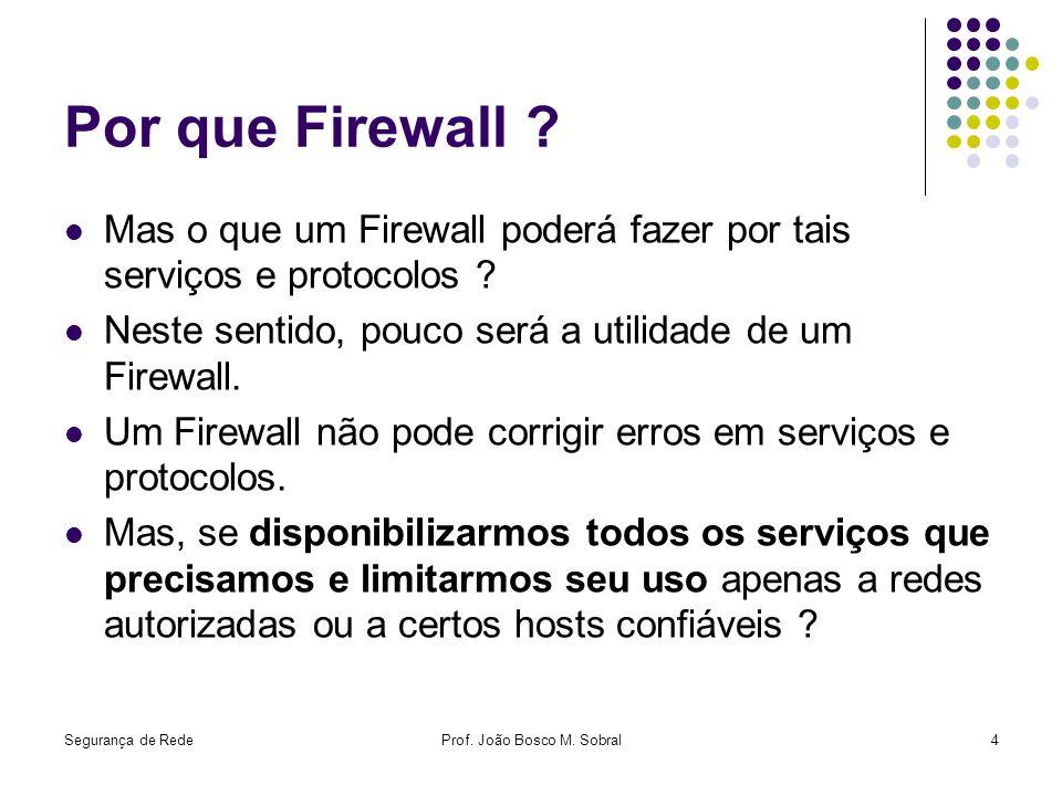 Segurança de RedeProf. João Bosco M. Sobral4 Por que Firewall ? Mas o que um Firewall poderá fazer por tais serviços e protocolos ? Neste sentido, pou