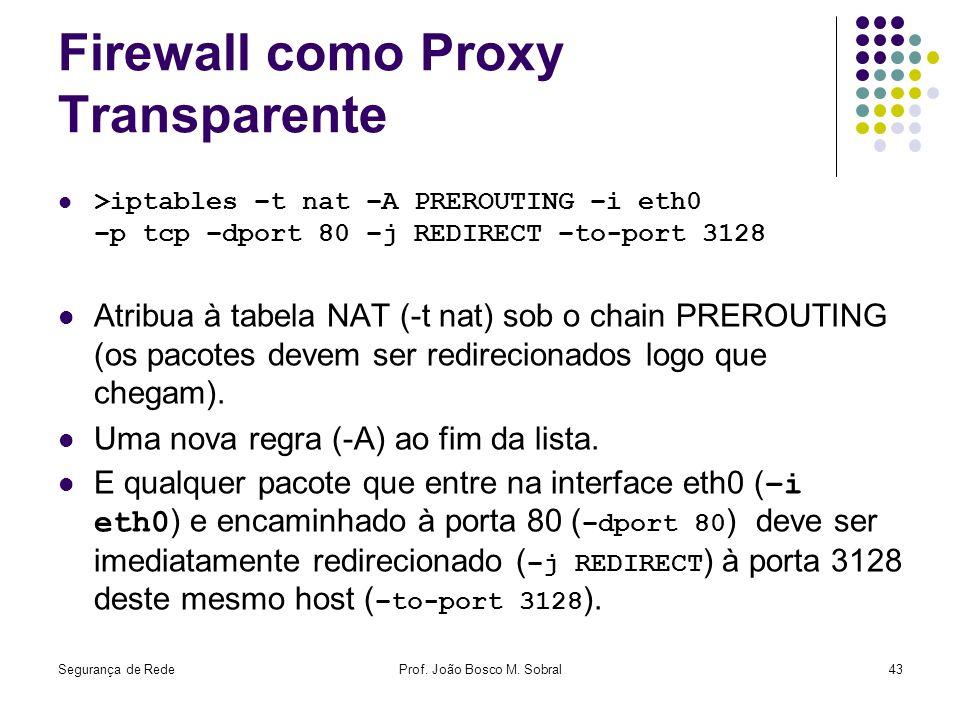 Segurança de RedeProf. João Bosco M. Sobral43 Firewall como Proxy Transparente >iptables –t nat –A PREROUTING –i eth0 –p tcp –dport 80 –j REDIRECT –to