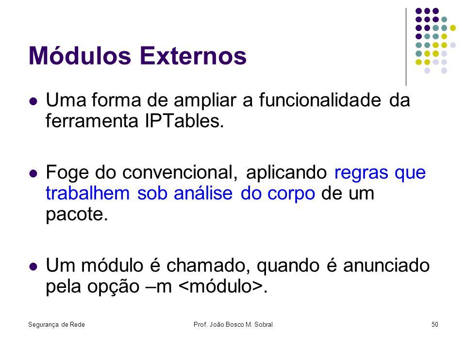 Segurança de RedeProf. João Bosco M. Sobral50 Módulos Externos Uma forma de ampliar a funcionalidade da ferramenta IPTables. Foge do convencional, apl