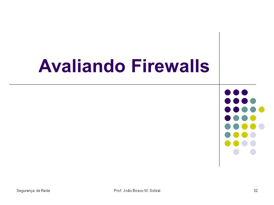 Segurança de RedeProf. João Bosco M. Sobral52 Avaliando Firewalls