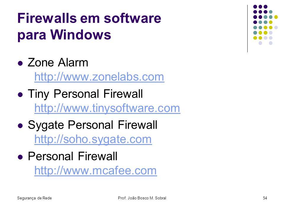 Segurança de RedeProf. João Bosco M. Sobral54 Firewalls em software para Windows Zone Alarm http://www.zonelabs.comhttp://www.zonelabs.com Tiny Person