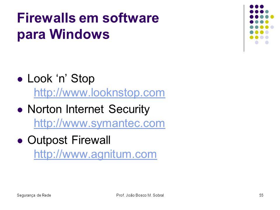 Segurança de RedeProf. João Bosco M. Sobral55 Firewalls em software para Windows Look n Stop http://www.looknstop.comhttp://www.looknstop.com Norton I