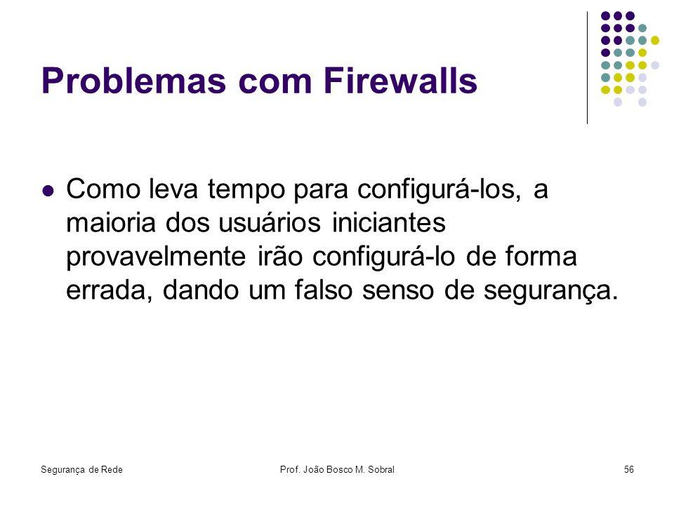 Segurança de RedeProf. João Bosco M. Sobral56 Problemas com Firewalls Como leva tempo para configurá-los, a maioria dos usuários iniciantes provavelme