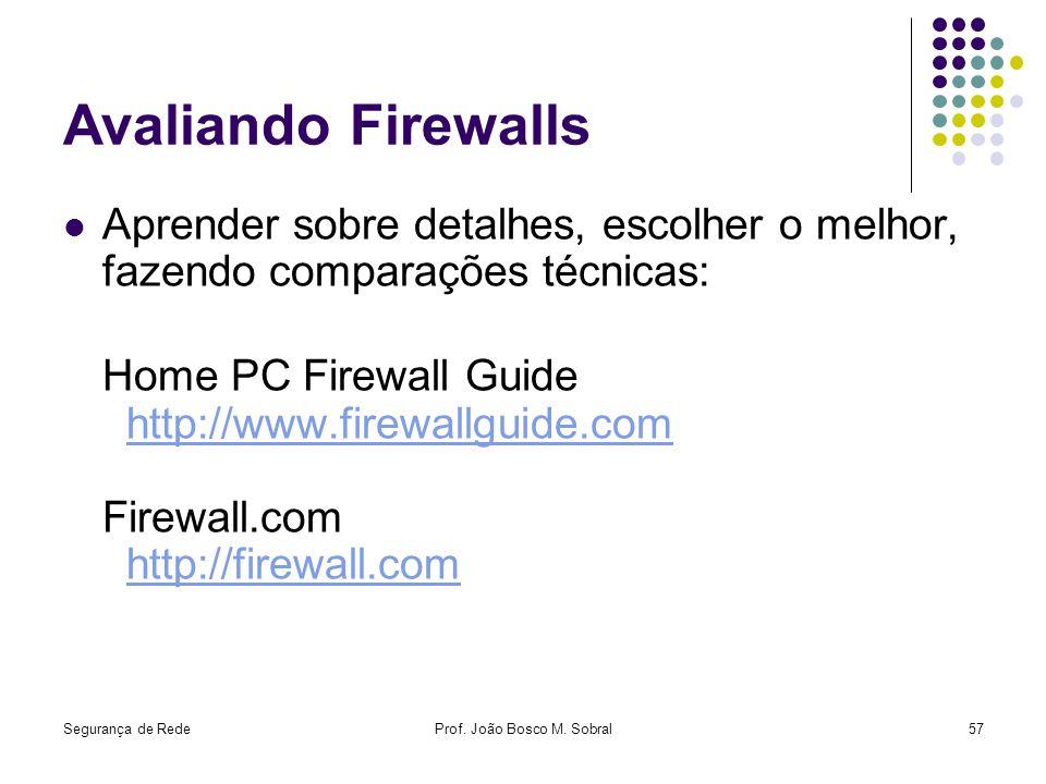 Segurança de RedeProf. João Bosco M. Sobral57 Avaliando Firewalls Aprender sobre detalhes, escolher o melhor, fazendo comparações técnicas: Home PC Fi