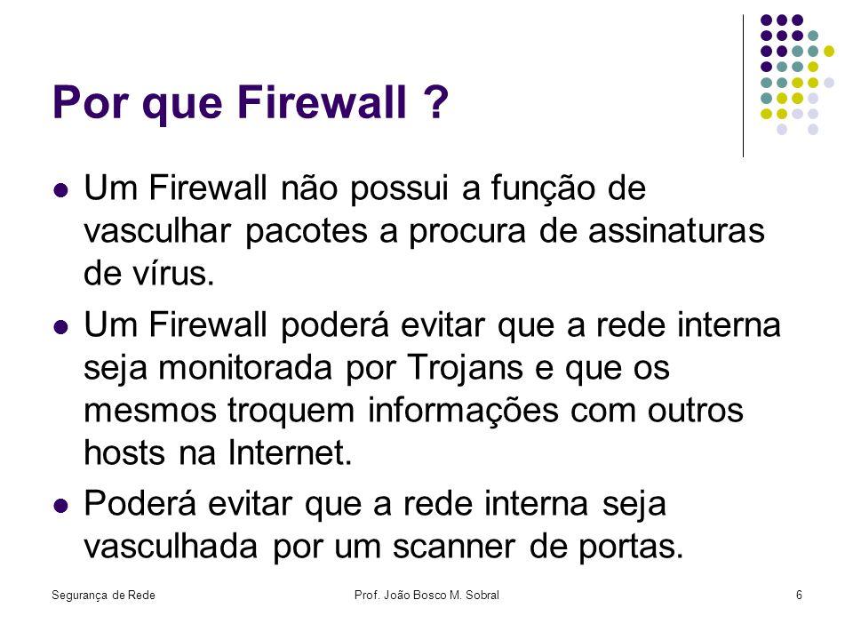 Segurança de RedeProf. João Bosco M. Sobral6 Por que Firewall ? Um Firewall não possui a função de vasculhar pacotes a procura de assinaturas de vírus