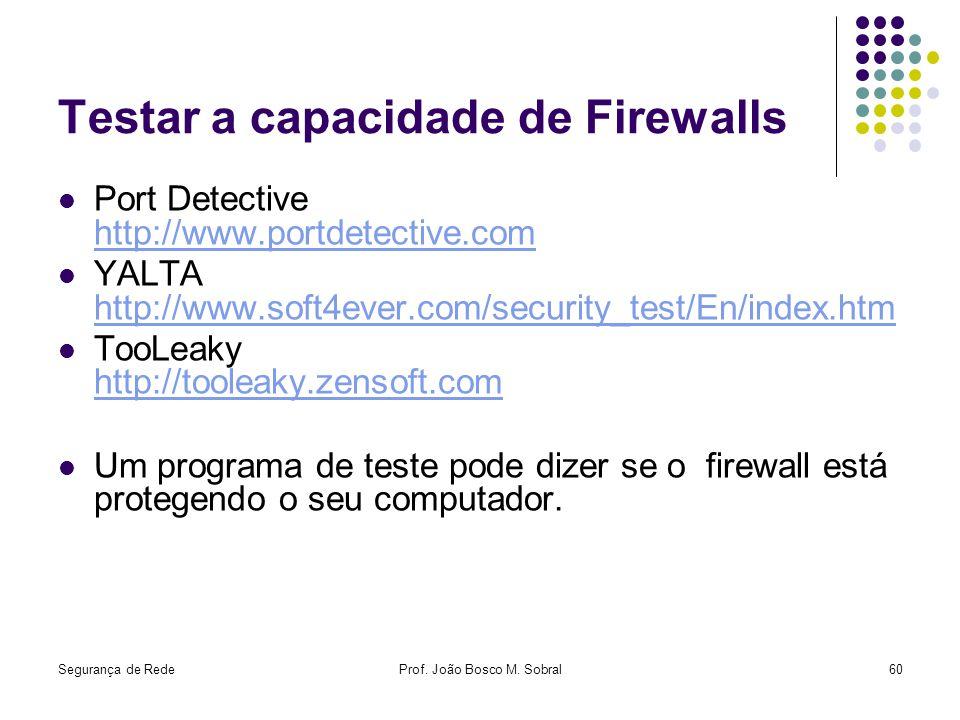 Segurança de RedeProf. João Bosco M. Sobral60 Testar a capacidade de Firewalls Port Detective http://www.portdetective.com http://www.portdetective.co