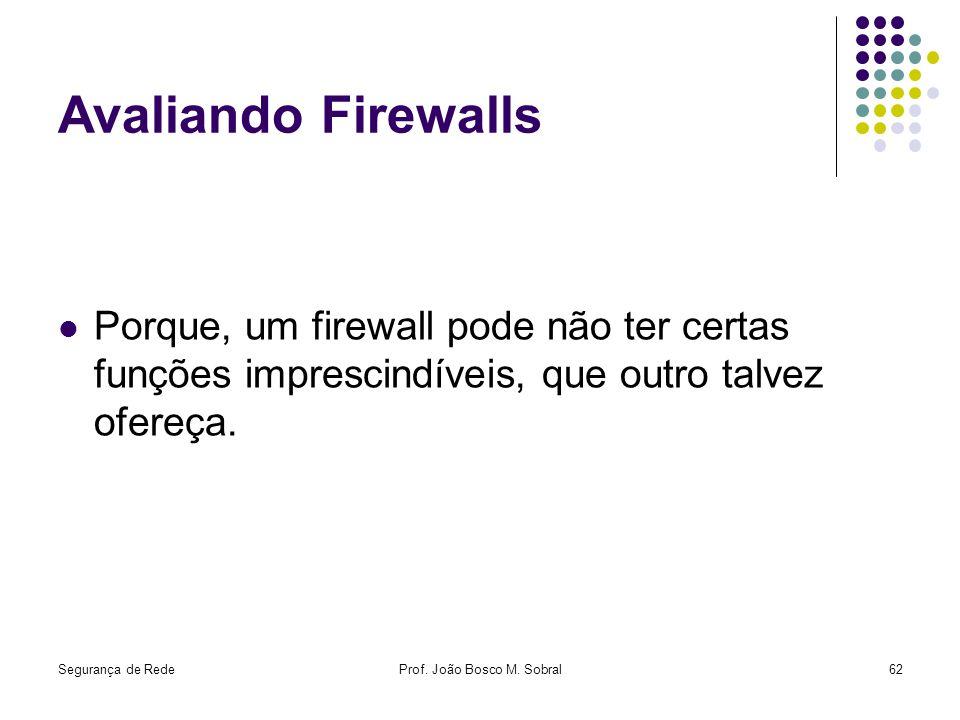 Segurança de RedeProf. João Bosco M. Sobral62 Avaliando Firewalls Porque, um firewall pode não ter certas funções imprescindíveis, que outro talvez of