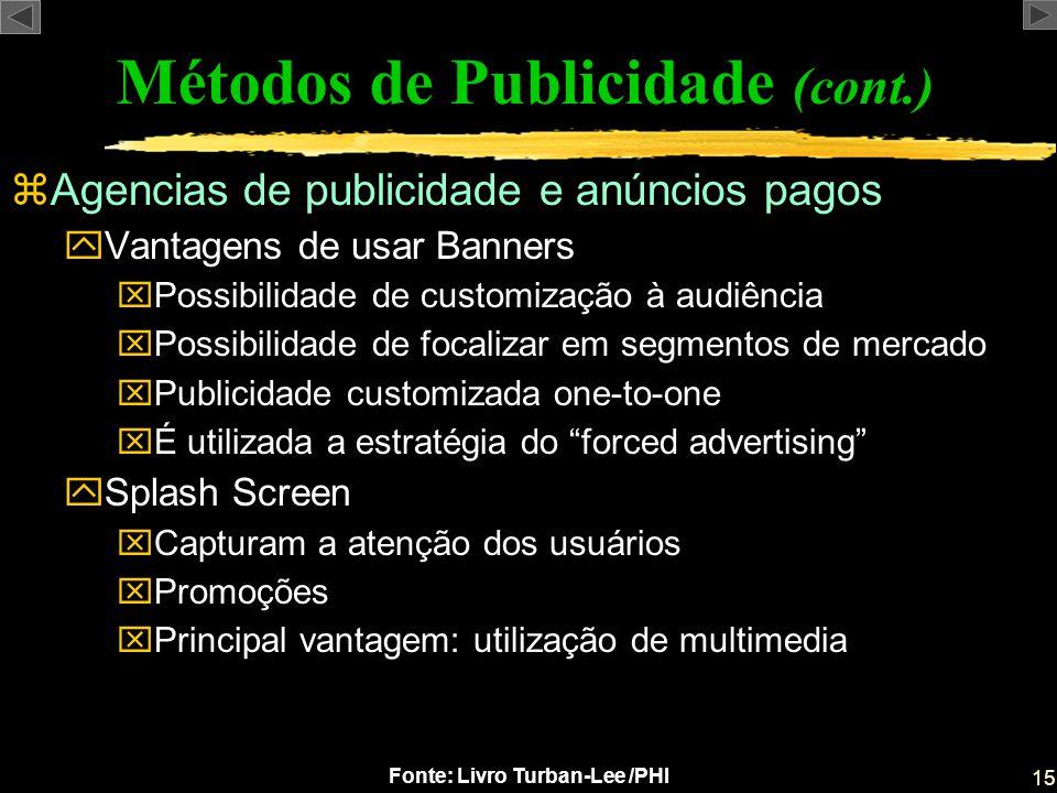 15 Fonte: Livro Turban-Lee /PHI zAgencias de publicidade e anúncios pagos yVantagens de usar Banners xPossibilidade de customização à audiência xPossi