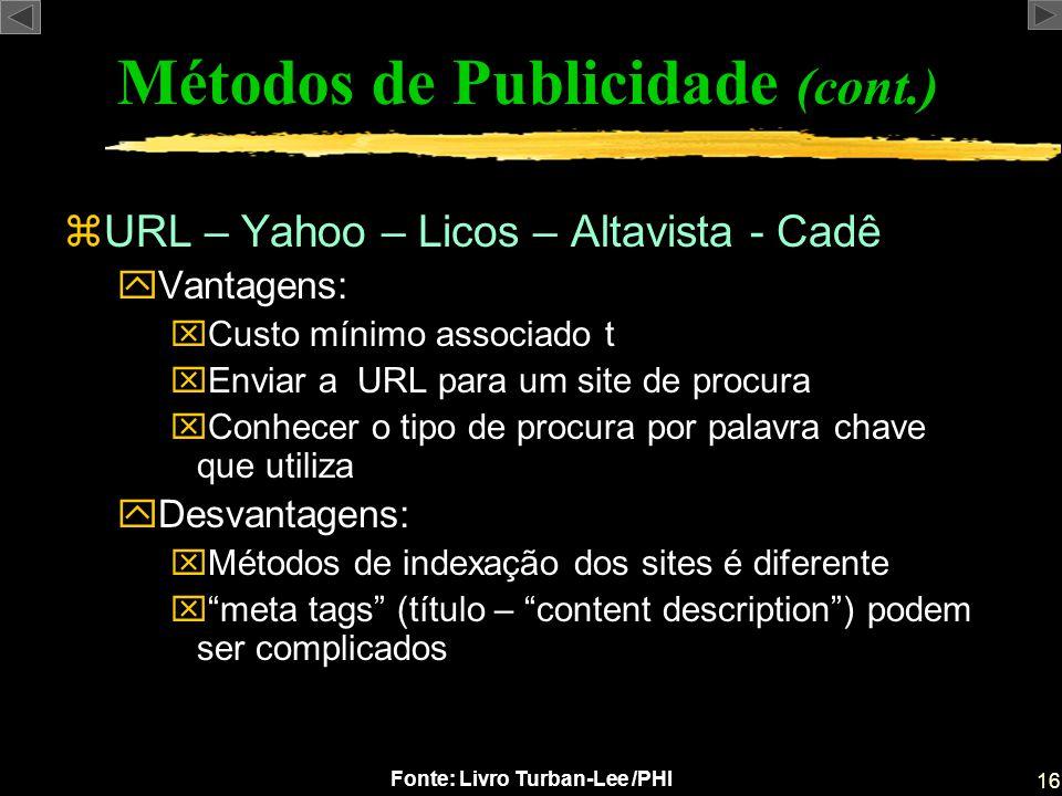 16 Fonte: Livro Turban-Lee /PHI zURL – Yahoo – Licos – Altavista - Cadê yVantagens: xCusto mínimo associado t xEnviar a URL para um site de procura xC
