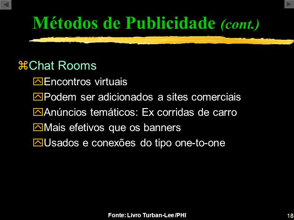18 Fonte: Livro Turban-Lee /PHI zChat Rooms yEncontros virtuais yPodem ser adicionados a sites comerciais yAnúncios temáticos: Ex corridas de carro yM