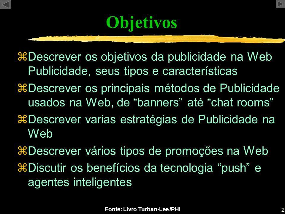 2 Fonte: Livro Turban-Lee /PHI Objetivos zDescrever os objetivos da publicidade na Web Publicidade, seus tipos e características zDescrever os princip