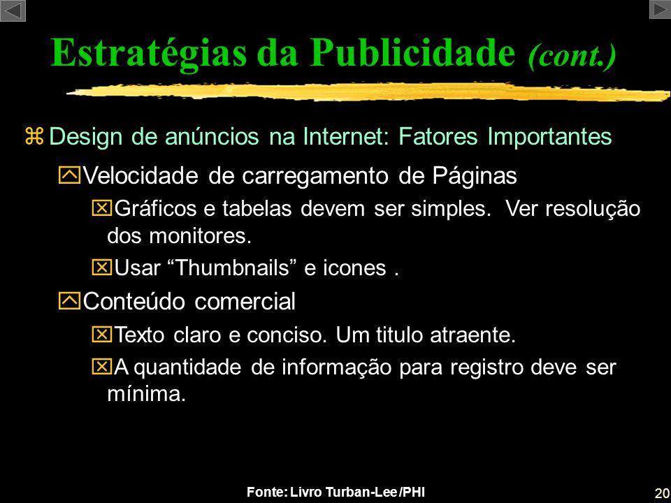 20 Fonte: Livro Turban-Lee /PHI zDesign de anúncios na Internet: Fatores Importantes Estratégias da Publicidade (cont.) yVelocidade de carregamento de