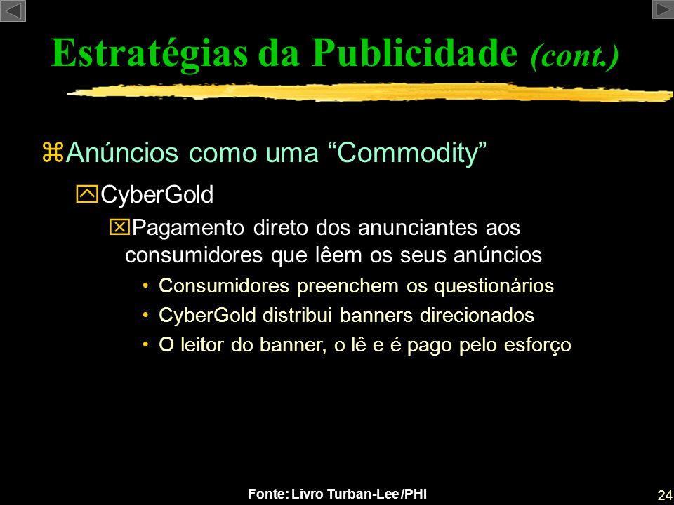 24 Fonte: Livro Turban-Lee /PHI zAnúncios como uma Commodity Estratégias da Publicidade (cont.) yCyberGold xPagamento direto dos anunciantes aos consu