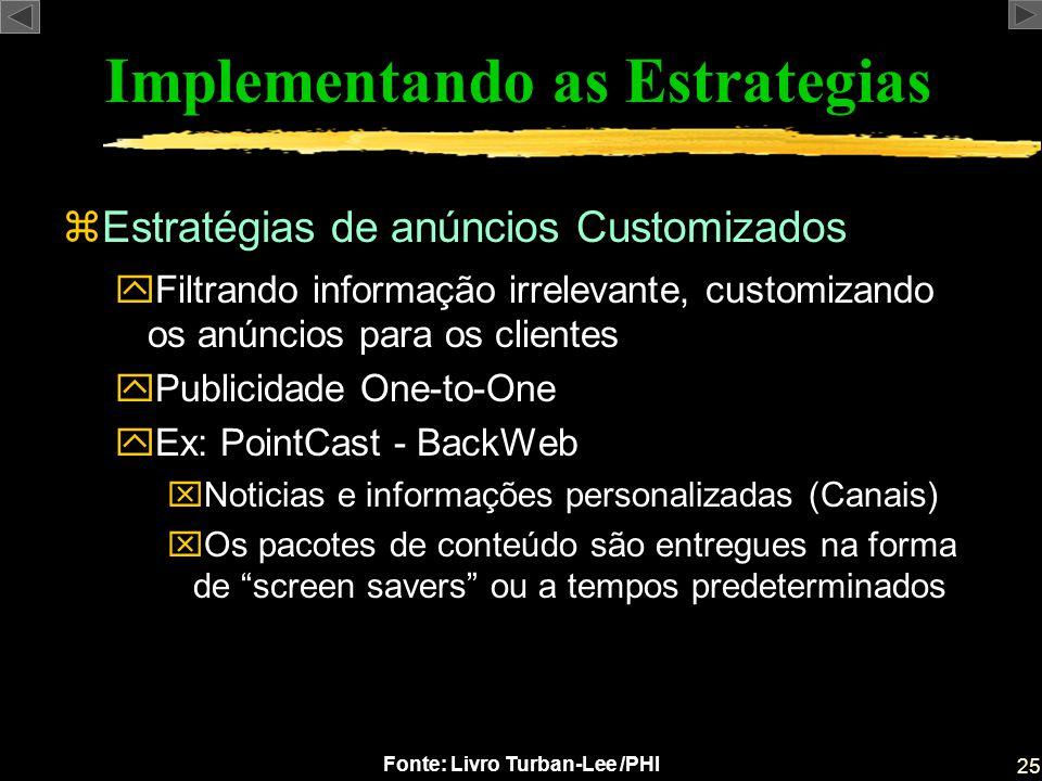 25 Fonte: Livro Turban-Lee /PHI Implementando as Estrategias zEstratégias de anúncios Customizados yFiltrando informação irrelevante, customizando os