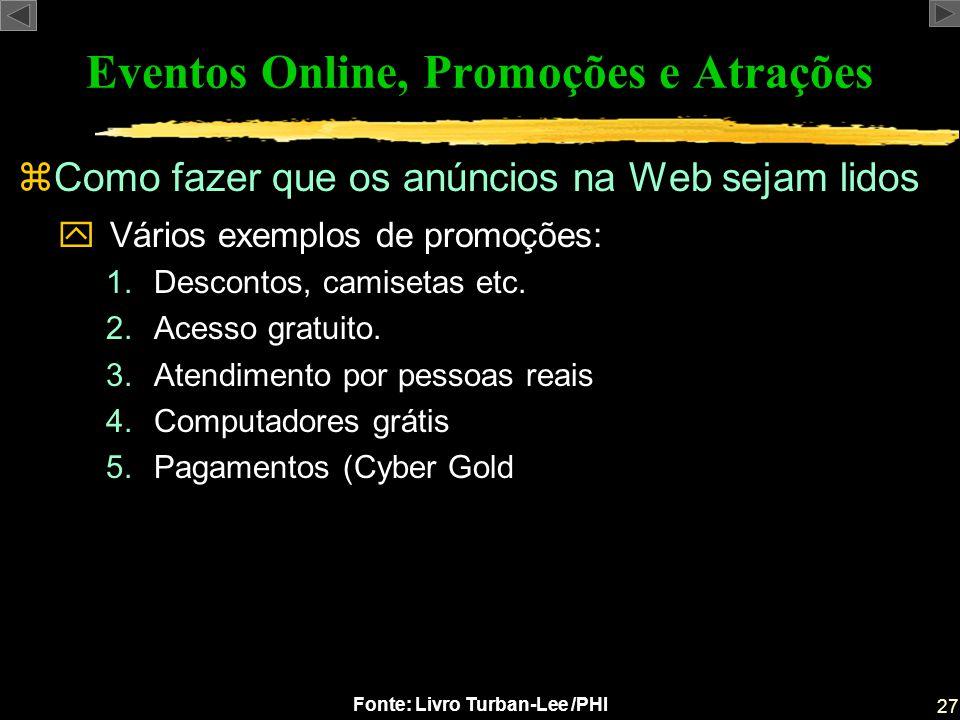 27 Fonte: Livro Turban-Lee /PHI Eventos Online, Promoções e Atrações zComo fazer que os anúncios na Web sejam lidos yVários exemplos de promoções: 1.D