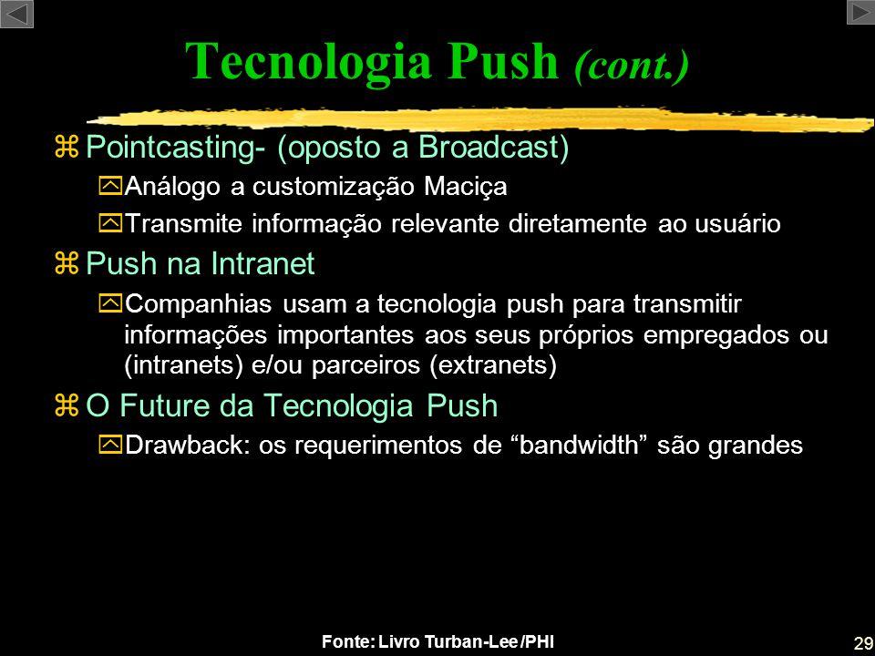 29 Fonte: Livro Turban-Lee /PHI zPointcasting- (oposto a Broadcast) yAnálogo a customização Maciça yTransmite informação relevante diretamente ao usuá